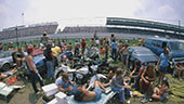 Still image of Motorcyclists in the snake pit at the Indianapolis Motor Speedway.